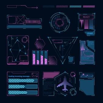 Interface hud, symboles et cadres numériques sci futuristes pour diverses informations