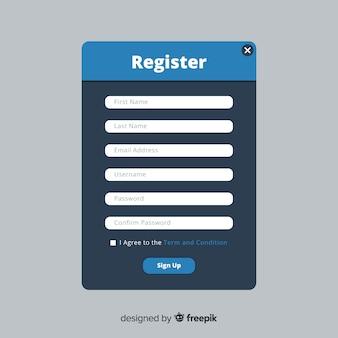 Interface d'inscription en ligne