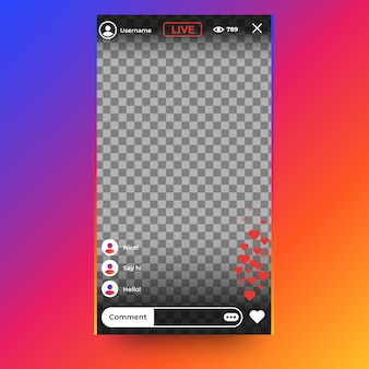 Interface instagram de diffusion en direct