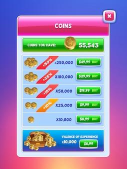 Interface de jeu. écran de banque de monnaie virtuelle.