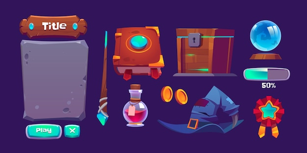 Interface de jeu magique avec livre de sorts, baguette magique et bouteille avec potion