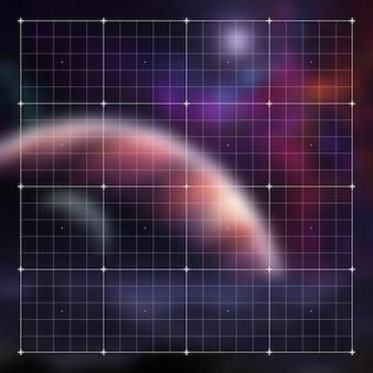Interface de jeu vidéo hud futuriste avec grille