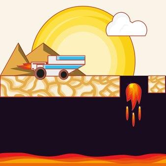 Interface de jeu vidéo avec lave volcanique et icône de la voiture