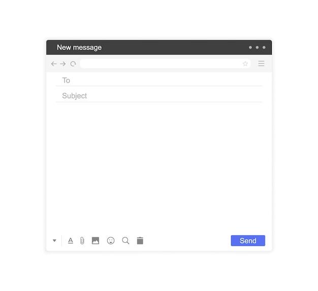Interface de messagerie. modèle de fenêtre de courrier, e-mail vide.