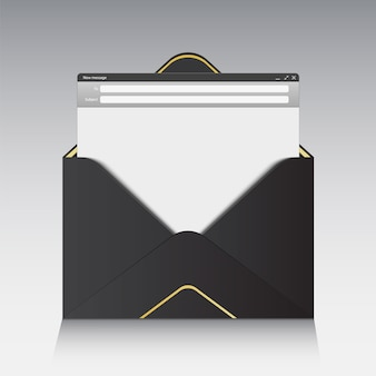 Interface de messagerie avec panneau web de formulaire d'envoi.