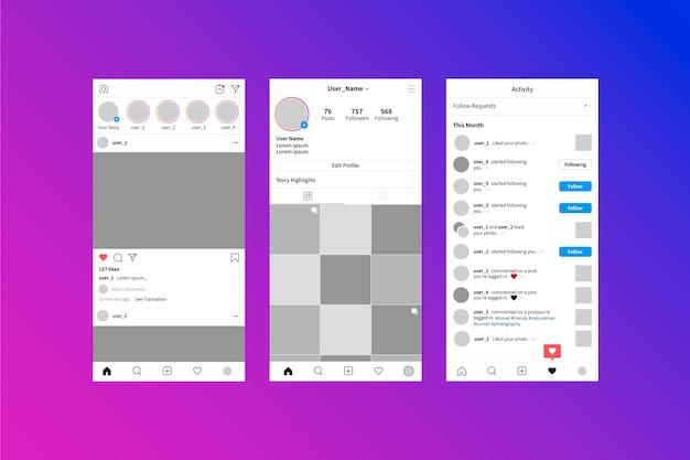 Interface de modèle d'histoires instagram