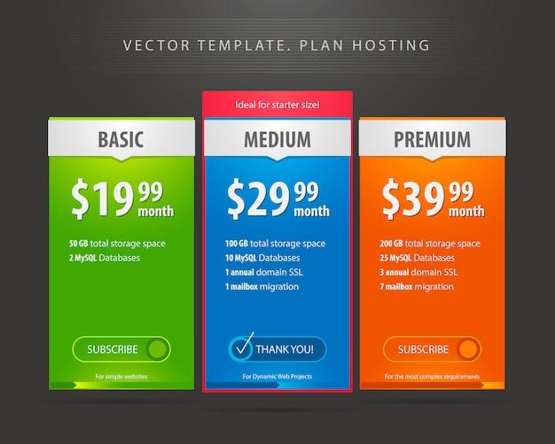 Interface de modèle pour le site sur fond sombre. trois tarifs, bannière pour application web. modèle de tableau de prix avec trois types de plan