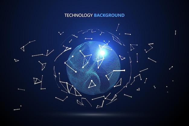 Interface de mondialisation futuriste, sens des graphismes abstraits de la science et de la technologie.