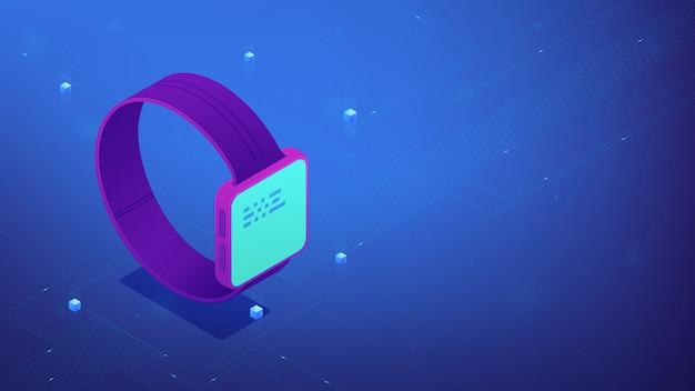 Interface de montre intelligente. illustration 3d isométrique.