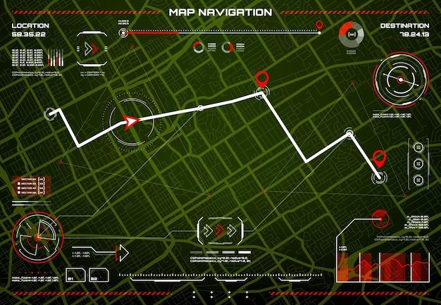 Interface de navigation hud, contrôle des dangers, plan de la ville
