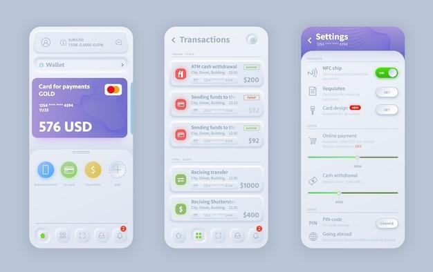 Interface néomorphique de la banque en ligne