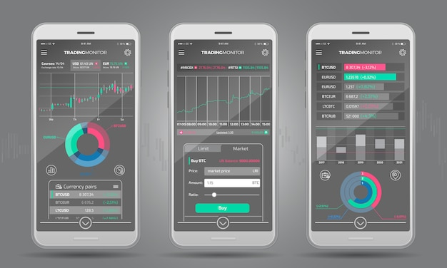Interface de plateforme de trading avec éléments infographiques