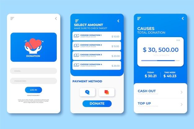 Interface pour l'application caritative