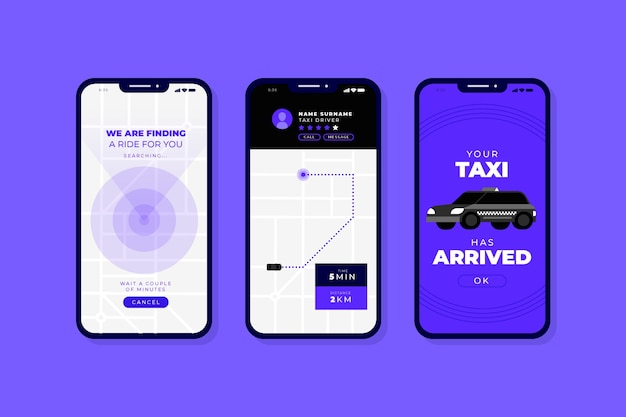 Interface pour l'application de taxi