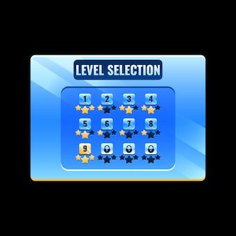 Interface de sélection du niveau de l'interface utilisateur du jeu spatial pour les éléments d'actif de l'interface graphique