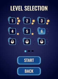 Interface de sélection de niveau d'interface utilisateur du jeu rpg de fantaisie portrait pour les éléments d'actif de l'interface