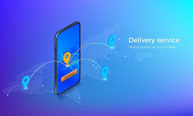 Interface de service de livraison isométrique. mobile sur une carte mondiale avec des repères de localisation et des itinéraires. gps ou navigation sur application mobile. illustration