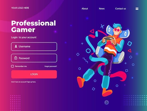 Interface de site web numérique pour joueur professionnel