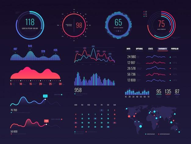 Interface de technologie intelligente hud. écran de données de gestion de réseau avec des graphiques et des diagrammes