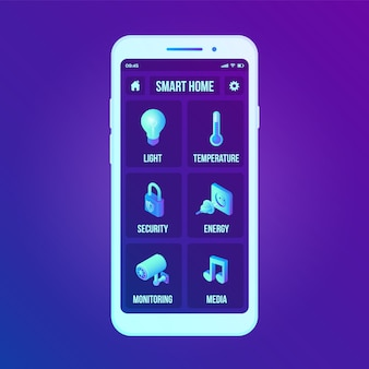 Interface de technologie de maison intelligente sur l'écran de l'application pour smartphone. système de contrôle à distance sur smartphone.