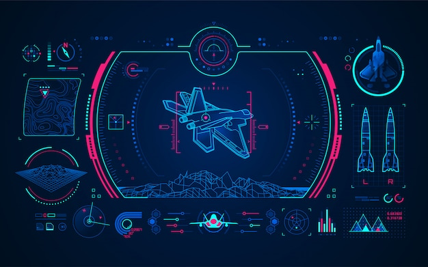 Interface de la technologie numérique de l'avion de combat