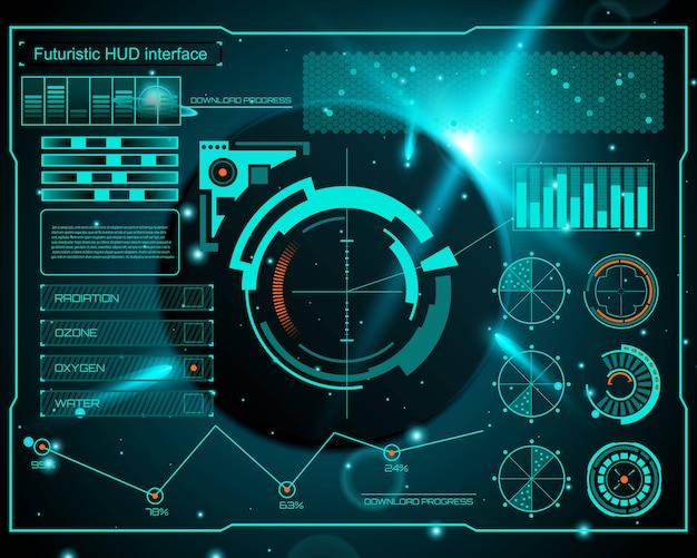 Interface technologique futuriste hud ui