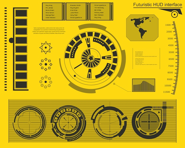 Interface technologique futuriste hud ui.
