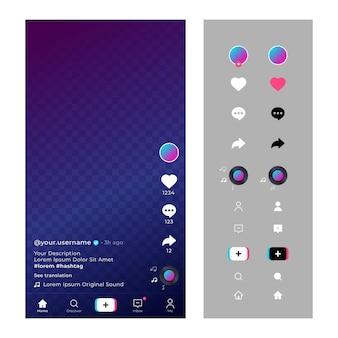 Interface tiktok avec icônes et chat