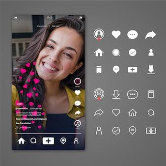 Interface tiktok avec icônes