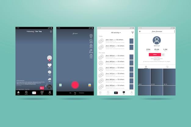 Interface tiktok pour téléphones mobiles
