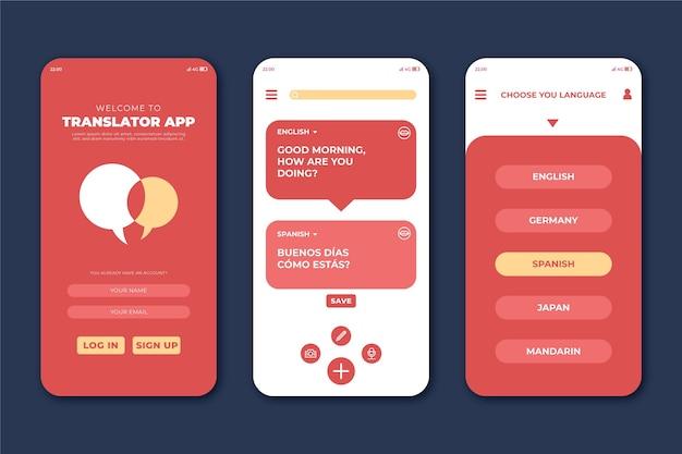 Interface de traduction de l'application