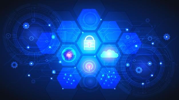 Interface utilisateur abstraite hud à partir d'éléments futuristes brillants. réseau numérique high-tech, communications, haute technologie.