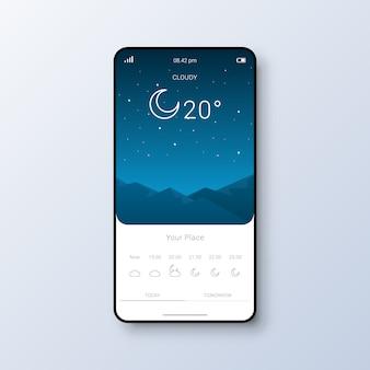 Interface utilisateur de l'application météo moderne