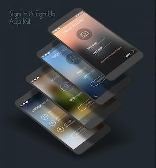 Interface utilisateur de l'application mobile, écrans de connexion et d'inscription, kit de maquette 3d