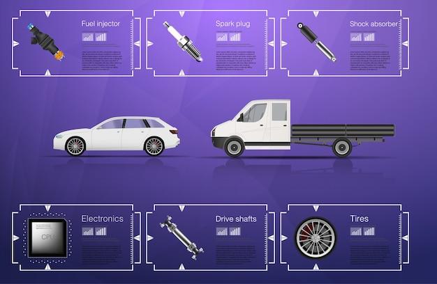 Interface utilisateur automatique. interface utilisateur tactile graphique virtuelle abstraite. infographie de voitures. résumé scientifique. .