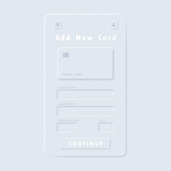 Interface utilisateur blanche neumorphic ui ux