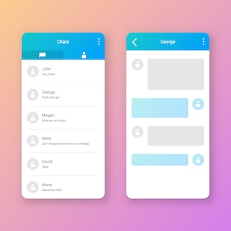 Interface utilisateur clean mobile chat