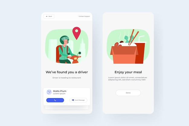 Interface utilisateur de commande de livraison de nourriture en ligne pour image vectorielle smartphone