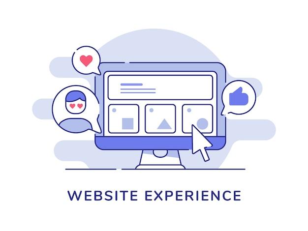 Interface utilisateur du concept d'expérience de site web dans les commentaires du moniteur de bureau d'affichage comme le cœur avec un style de contour plat