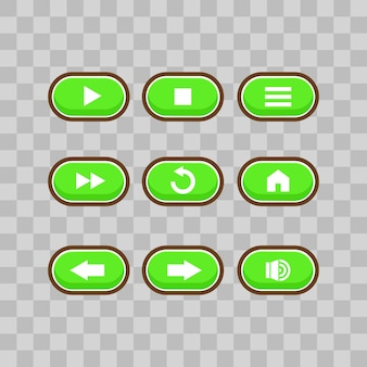 Interface utilisateur du jeu avec écran de sélection de niveau, y compris les étoiles, les flèches, les touches principales et le bouton strat, et des éléments pour créer des jeux vidéo rpg médiévaux, illustration vectorielle