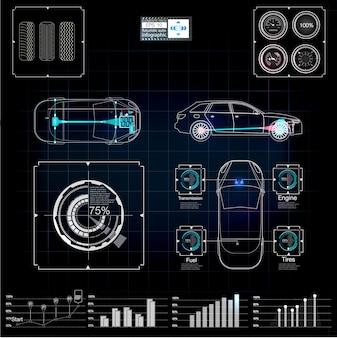 Interface utilisateur futuriste. hud ui. interface utilisateur tactile graphique virtuel abstrait. infographie de voitures. diagnostic des voitures. résumé de la science. illustration.