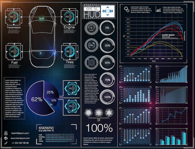 Interface utilisateur futuriste. hud ui. interface utilisateur tactile graphique virtuel abstrait. infographie de voitures. résumé de la science. illustration.