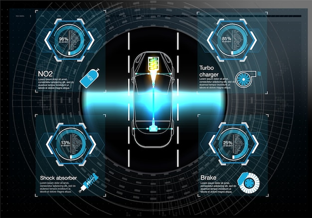 Interface utilisateur futuriste. hud ui. interface utilisateur tactile graphique virtuelle abstraite.