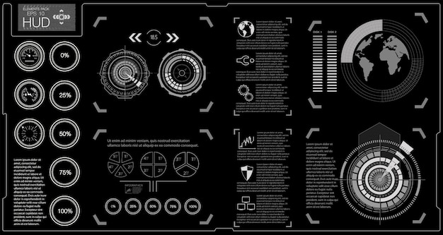Interface utilisateur futuriste. infographie du transport de fret et du transport.modèle d'infographie automobile. interface utilisateur tactile graphique virtuelle abstraite.
