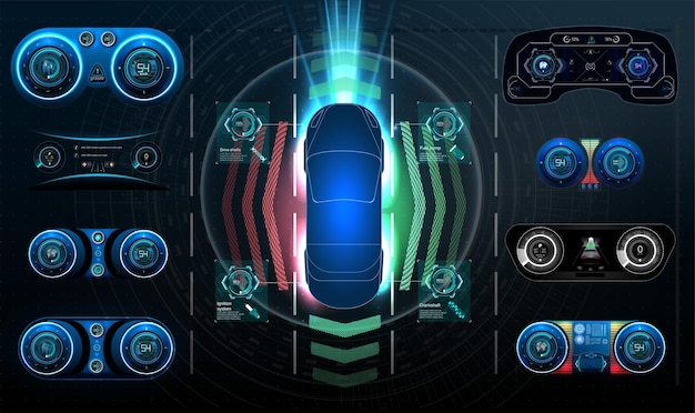Interface utilisateur futuriste. interface utilisateur hud. interface utilisateur tactile graphique virtuelle abstraite. infographie de voitures. résumé de la science vectorielle. illustration vectorielle.