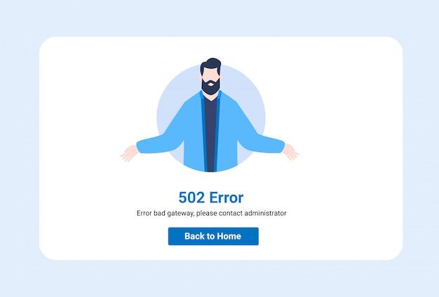 Interface utilisateur d'illustration de modèle de conception pour une page web avec une erreur 502.