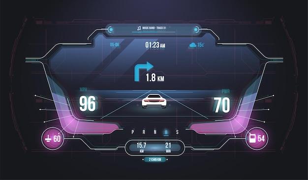 Interface utilisateur infographique de voitures, analyse et diagnostic dans le style hud.