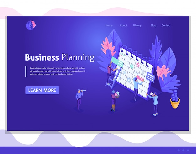 Interface utilisateur isométrique, conception web, page de destination. le concept du travail des personnes isométriques, l'élaboration d'un plan d'affaires, la planification