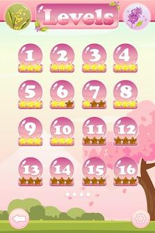 Interface utilisateur de jeu avec sélection de niveau