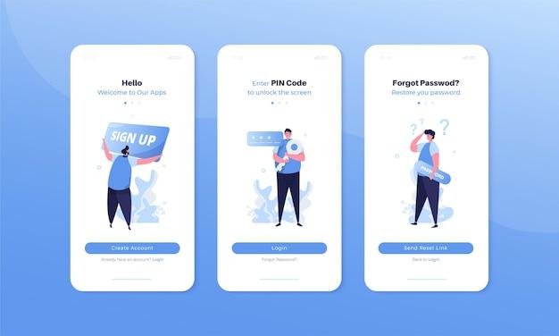 Interface utilisateur mobile avec connexion d'inscription et jeu d'illustrations de page de mot de passe oublié